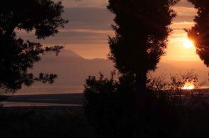 有明海と雲仙と夕日